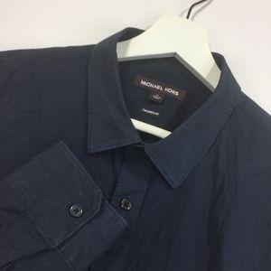 Michael Kors Large Shirt Navy Blue Button Down